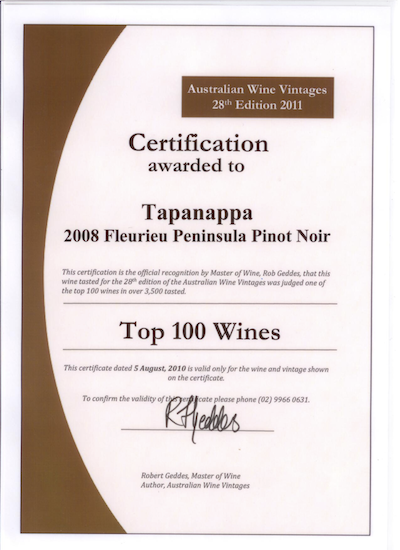 Certificate for Top 100 Wines for 2008 Foggy Hill Pinot Noir
