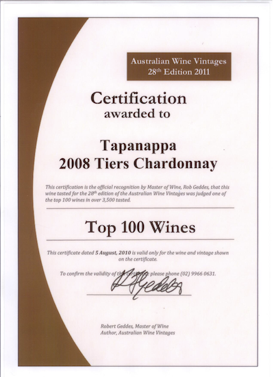 Certificate for Top 100 Wines for Tapanappa 2008 Tiers Chardonnay