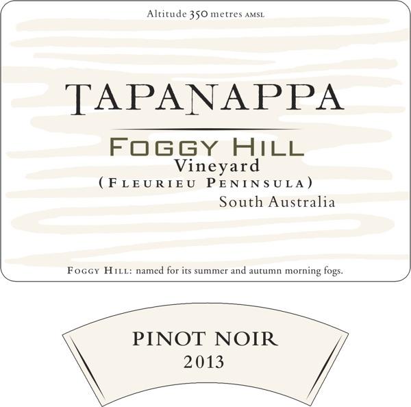 Tapanappa Foggy Hill Vineyard 2013 Pinot Noir label